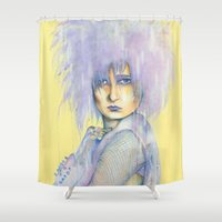 pastel goth Shower Curtains featuring Pastel Siouxie by Anne Blondie Bengard