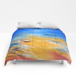 ocean sunset, original oil painting landscape, blue wall art, beach decor Comforters