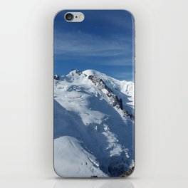 Awesome white snowy Mont Bla   nc Alps mountains in Italy, France, Europe on a beautiful winter day iPhone Skin