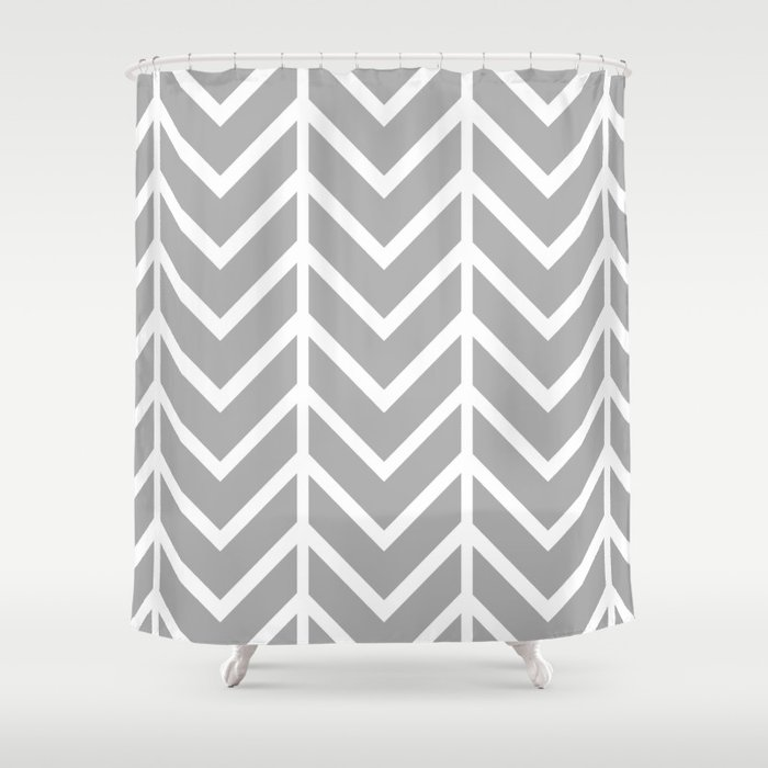GRAY THIN CHEVRON Shower Curtain By Nataliesales