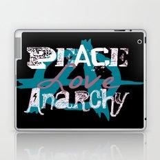 Peace Love Anarchy in Blue Laptop & iPad Skin