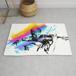 Violin player, violinist musician playing classical music. Music festival concert. Rug