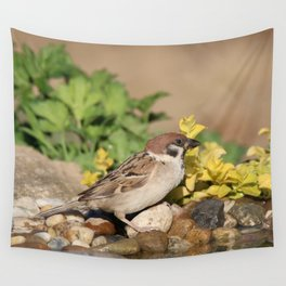 Sparrow at water Wall Tapestry