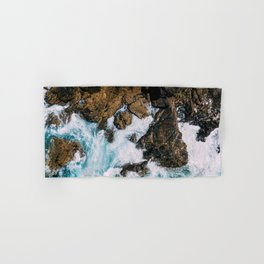 Ocean Waves Crushing On Rocky Landscape, Drone Photography, Aerial Landscape Photo, Ocean Wall Art Hand & Bath Towel