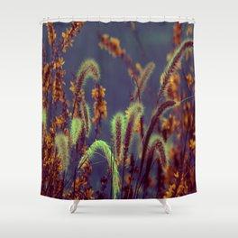 Autumn Grassflower in copper neon style Shower Curtain