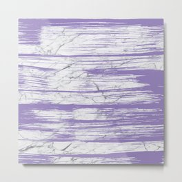 Modern abstract violet watercolor brushstrokes marble pattern Metal Print