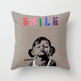 Banksy Smile Throw Pillow