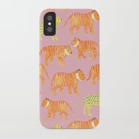 tigers iPhone & iPod Cases featuring Pink Tigers by Sian Keegan
