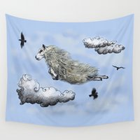 sheep Wall Tapestries featuring Flying sheep by Anna Shell