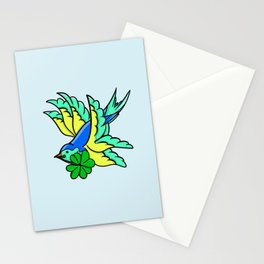 Swallow With Lucky Four Leaf Clover Stationery Cards