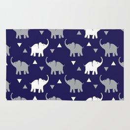 Elephants & Triangles - Navy Blue / Gray / White Rug