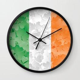 Irish flag of shamrocks Wall Clock