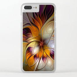Autumn Flower, Colorful Abstract Fractal Art Clear iPhone Case
