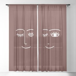 Wink (Red Wine) Sheer Curtain