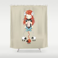 knitting Shower Curtains featuring Knitting Meditation 2 by Freeminds