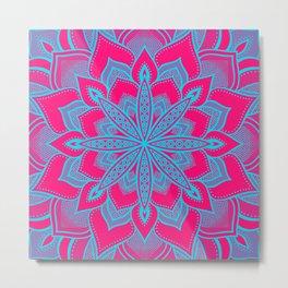 Flower Mandala Magenta Blue Metal Print