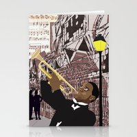 louis armstrong Stationery Cards featuring Louis Armstrong by Cwilwol