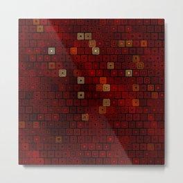 Hand Drawn Red Squares Metal Print