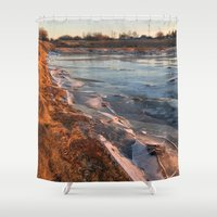 cracked Shower Curtains featuring Cracked ice. by Mikhail Zhirnov