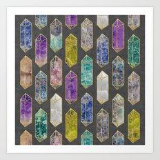 Crystal Gemstones Art Print