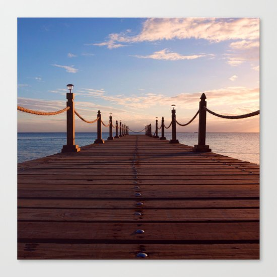 Sunset on the Pier (Lake Dock) Canvas Print
