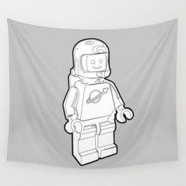 Vintage Spaceman Wireframe Minifig Wall Tapestry