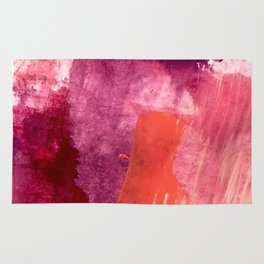 Blushing: a vibrant, minimal abstract in purple, pink, and red Rug