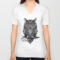 men V-neck T-shirts featuring Warrior Owl 2 by Rachel Caldwell