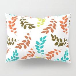 Colorful Leaves, Leaf Pattern - Blue Orange Green Pillow Sham