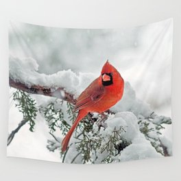 Cardinal on Snowy Branch (sq) Wall Tapestry