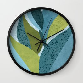 In The Shadows / Abstract Maximal Flora in French Blue and Olive Wall Clock