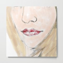 Watercolour Female Close Up Metal Print
