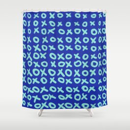 X O Blue on Blue Shower Curtain
