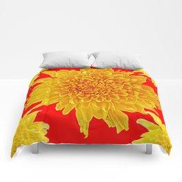 Golden Yellow Chrysanthemums Red Art Design Comforters