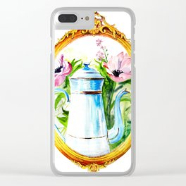 vintage watercolor with tea and flowers in a frame Clear iPhone Case
