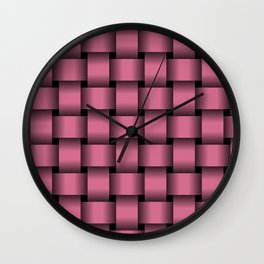 Large Dark Pink Weave Wall Clock