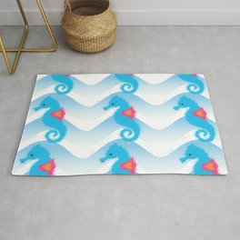 Seahorses And Blue Waves Pattern Rug
