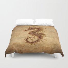 Aged Vintage Intricate Tribal Seahorse Design Duvet Cover