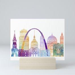 Saint louis skyline landmarks in watercolor Mini Art Print
