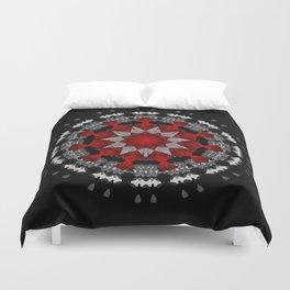 Bright Red Silver Star Flower Mandala Duvet Cover