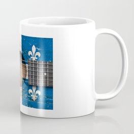 Old Vintage Acoustic Guitar with Quebec Flag Coffee Mug