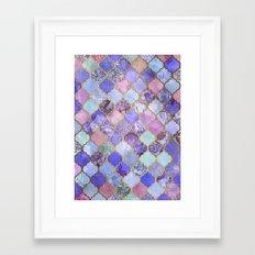 Royal Purple, Mauve & Indigo Decorative Moroccan Tile Pattern Framed Art Print