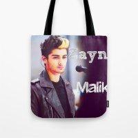 zayn malik Tote Bags featuring Zayn Malik by Marianna