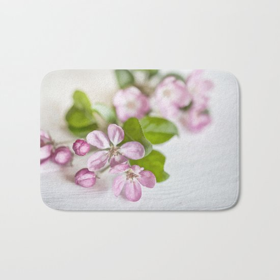delicate pink Apple Blossom close up Bath Mat