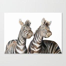 Zebras Watercolor Canvas Print