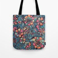 spring Tote Bags featuring Sweet Spring Floral - melon pink, butterscotch & teal by micklyn