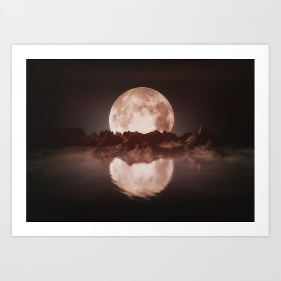 Misty Moon Art Print