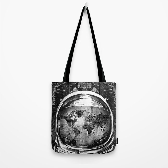 astronaut world map black and white 2 Tote Bag