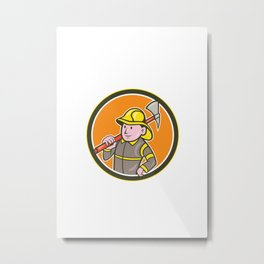Fireman Firefighter Axe Circle Cartoon Metal Print