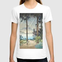 Tsuchiya Koitsu - Morning Rain in Hakone - Japanese Vintage Woodblock Painting T-shirt